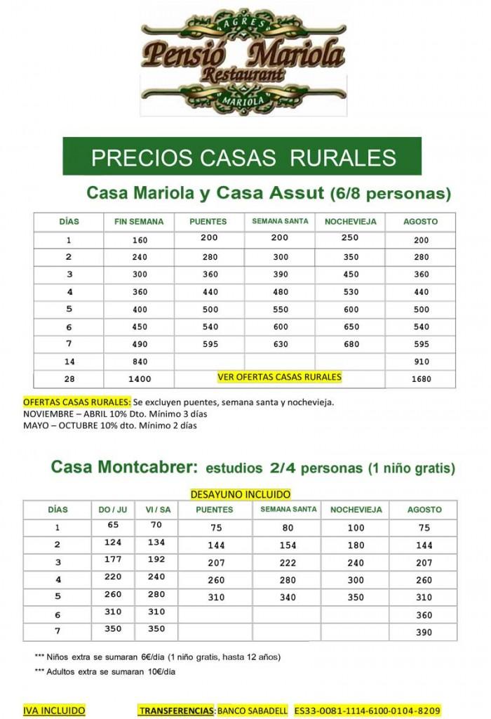 tarifas casas rurales pensión mariola agres 2018